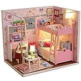 Txyk Cabañas de Madera de Bricolaje Casa de muñecas en Miniatura con Muebles Hechos a Mano Dormitorio de Princesa con LED para niños y Adolescentes 15.1 x 11.6 x 13.1cm