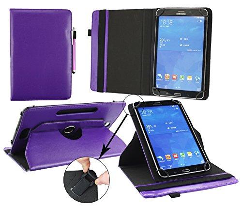 Emartbuy® Odys Thor 10 Tablet PC 10.1 Zoll Universal (9-10 Zoll) Lila Premium PU Leder 360GradRotierendeStandFolioGeldbörseTascheHülle Stand Folio Wallet Case Cover + Lila Eingabestift