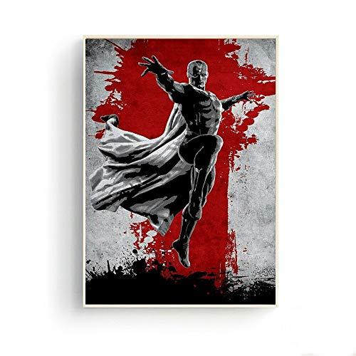 Geiqianjiumai Pintura Abstracta Lienzo Negro y Rojo póster de película Anime murciélago héroe Gigante póster e Impresiones decoración de la Sala Pintura sin Marco 30cmx40cm