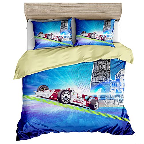 Duvet Cover Set 3D Racing sports car Printed Bedding Set for Kids Teens Adults Girls Boys Soft Microfiber Duvet Cover,F1,Single(53x79in)