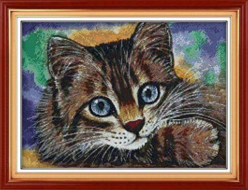 Mjxxxlsd kits de punto de cruz hilo de algodón 11CT (lindo gato) bordado de punto de cruz 40 x 50 cm