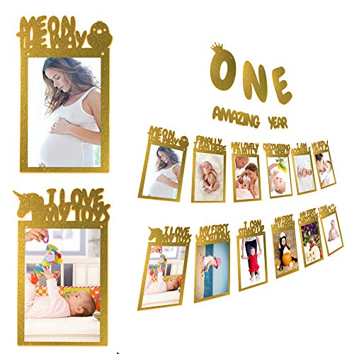 IDEASEART Baby First Birthday Milestone Photo Banner, Picture Garland Banner Party Decoration Gold Glitter