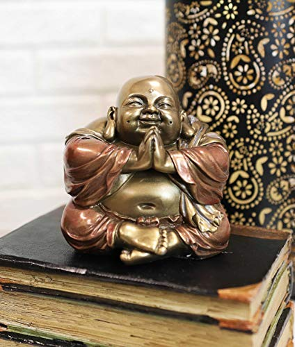 Ebros Gift Eastern Enlightenment Meditating Praying Hotei Happy Buddha Figurine 4' Tall Buddhism Keepsake Amulet Feng Shui Decor Statue