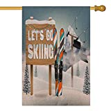 Capsceoll Fall House Flag 28X40 Inch Vertical Double Sized Burlap Outdoor Decorative Flags Go Skiing Wood Board Sign Ski Equipment