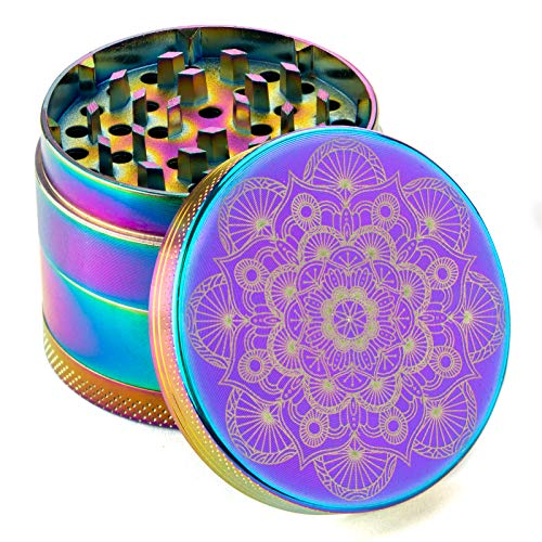 "PILOTDIARY Herb Spice Grinder 4 Piece 2"" with Pollen Catcher Mandala Series - Aluminum, Rainbow"