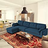 Giantex Reversible Sectional Sofa Couch 4-Seat, L-Shaped Couch with Storage Ottoman, Modern Linen Fabric Convertible Sofa Couch Set with Chaise Lounge for Living Room and Apartment (Navy)