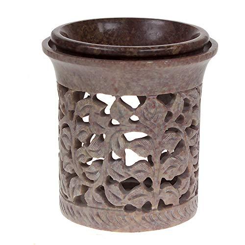 Premium Jali Palewa Zeepsteen Marokkaanse etherische olie Diffuser Warmer Theelichthouder Brander voor Aromatherapie (Leaf Design)