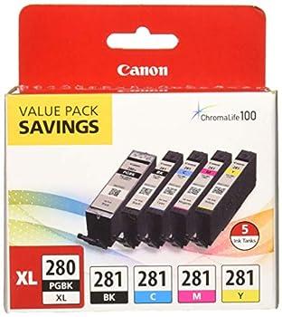 Canon PGI-280XL/CLI-281 5 Color Pack Compatible to TR8520 TR7520 TS9120 Series,TS8120 Series TS6120 Series