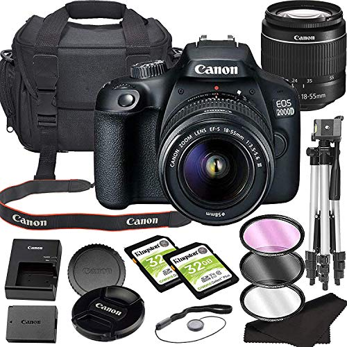 Canon EOS 2000D (Rebel T7) DSLR 24.1MP Camera with 18-55mm Lens with Built-in Wi-Fi|24.1 MP CMOS Sensor, |DIGIC 4+ Image Processor and Full HD Videos + 64GB Memory Bundle