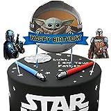 Decoraciones para tartas de Yoda para bebés, con temática mandaloriana, 3 unidades, Star Wars Happy Birthday Baby Cute Yoda Party Supplies para decoración de tartas para fans de Star Wars