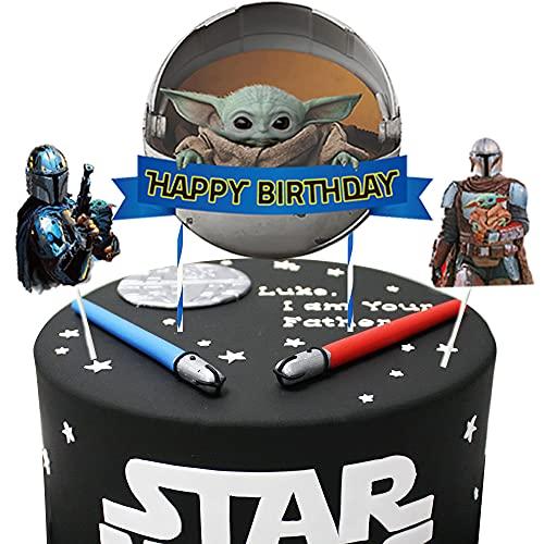 Decoraciones para tartas de Yoda para bebés, con temática mandaloriana, 3 unidades, Star Wars...
