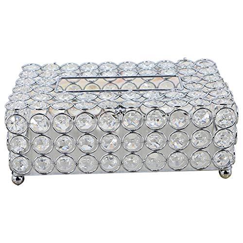 Almabner - Funda para Caja de pañuelos Rectangular de Cristal, Soporte para Caja de pañuelos para baño, Dormitorio, Oficina, No nulo, Plateado, Tamaño Libre