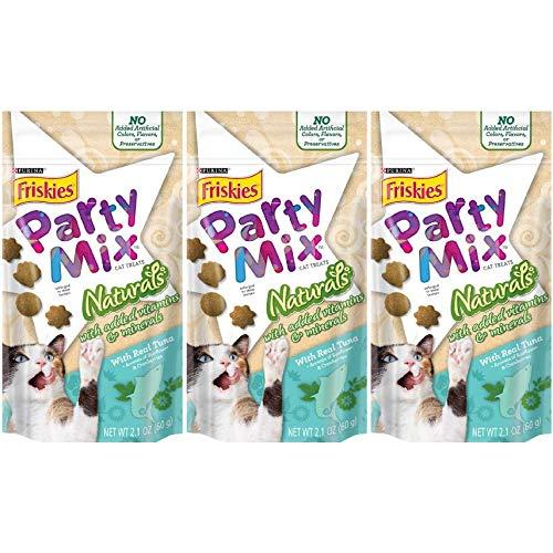 3 Bags of Friskies Party Mix Naturals with Real Tuna Cat Treats, 2.1-oz ea