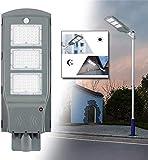 Hobaca Aluminio 4000LM 60W LED Solar Farola Iluminación exterior Luz del sensor de movimiento Dusk to Dawn para Calle Área de iluminación IP65 Iluminación de seguridad