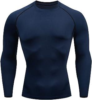 HJHK Camicia Sportiva da Uomo Camicie Funzionale a Maniche Lunghe Felpa Slim Fit Maglietta Muscolare Stretch Ventilazione ...