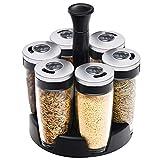 Botella de especias, botella giratoria condimento tanque Creative Set de cocina de cristal giratorios Latas Conjunto condimento tarro kaikai