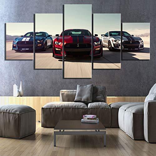 Angel&H 5 Stücke HD Luxusautos Bilder Drucken Ford Mustang Shelby Gt500 Poster Segeltuch Kunst Dekorativ Gemälde zum Zuhause Dekor Wandkunst,B,20x30x2+20x50x1+20x40x2