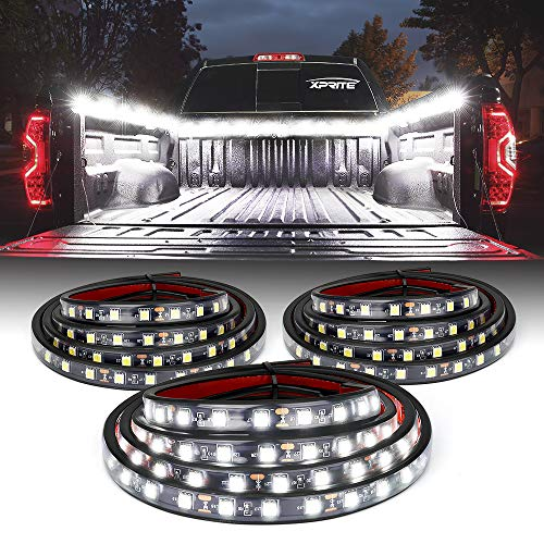 Xprite 3PCS 60' Inch White LED Truck Bed Lights Strip Kit, Pickup Under Body Bed Decoration Lighting Bar for Cargo Trucks Vans SUV RV Boat,w/ On | Off Switch
