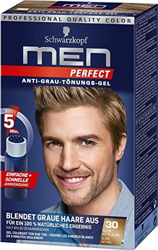 Schwarzkopf Men Perfect Anti-Grau Tönungs-Gel, 30 Natur Mittelblond, 3er Pack (3 x 1 Stück)