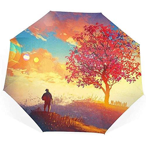 Fantasy Compact Travel Umbrella Sonnensegel, verstärkt, Winddicht, ergonomischer Griff, automatisches Öffnen/Schließen