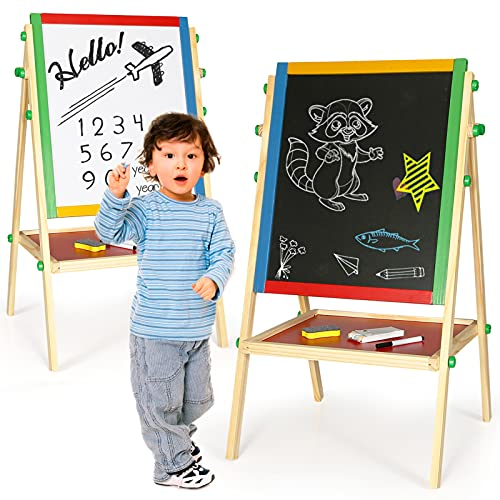 Funspreasd Kid's Easel Double Sided Wooden Kids Board with Chalkboard and Whiteboard Adjustable Standing Art Easel for Kids Toddler Childre with Storage