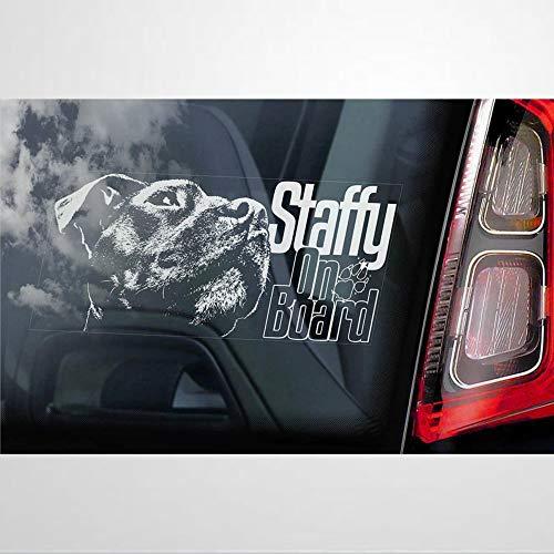 Staffy Bull Terrier - Adhesivo de vinilo para coche, decoración para ventana,...