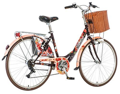 breluxx® 26 Zoll Damenfahrrad Venera Fashion Secret Mohnblume, Citybike Korb + Licht Retro Damenrad, 6 Gang Shimano