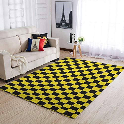 Alfombra suave de tablero de ajedrez para interiores y exteriores, color blanco y negro, 122 x 183 cm