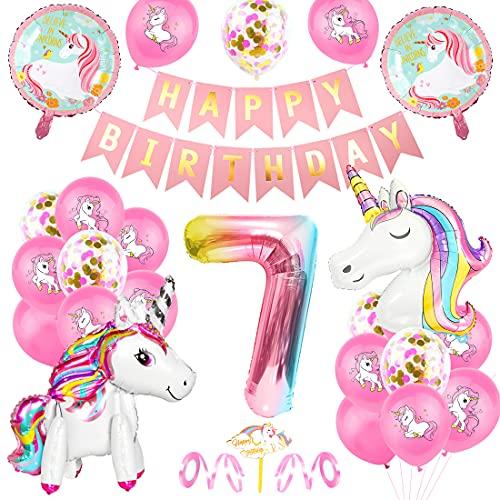 O-Kinee Unicornio Fiesta Decoración, Cumpleaños Globos 7, Decoración de cumpleaños 7 en Unicornio, Feliz cumpleaños Decoración Globos 7 Años, Unicornio de cumpleaños Ducha Bodas Festival Decoración