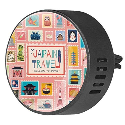 Frangipani Frangipani - Diffusore per auto con simbolo tradizionale giapponese in francobollo, con clip di ventilazione per auto