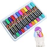 RUIYELE 12 Colors Pet Hair Dye Pens for Dog Cat Pet Fur Nail Coloring Bright Color Pet Hair Chalk Painting Pens Temporary Washable Disposable Pet Makeup Pens