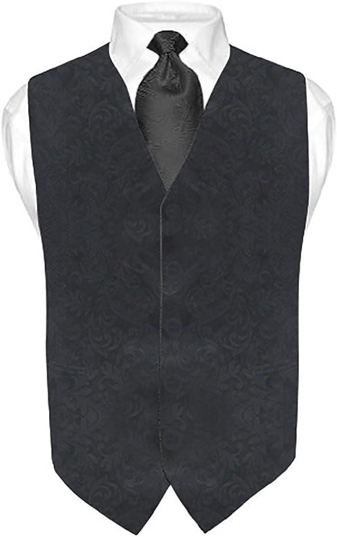 INMONARCH Mens Black V Vest Brocade 5 Button MV03