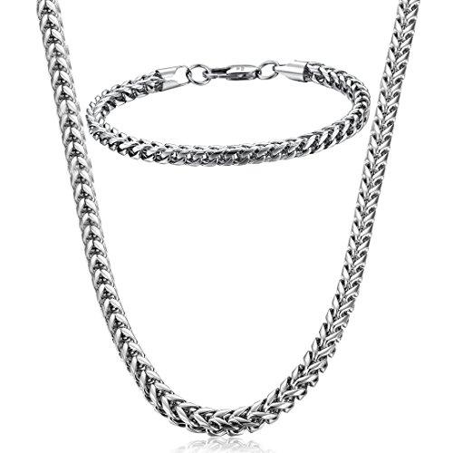 FIBO STEEL Stainless Steel Wheat Chain Necklace for Men Women Necklace Bracelet Jewelry Set 5mm in Width, 22' 8.5'