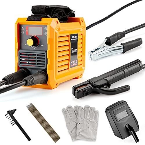 Soldador 220V MMA, TEWLEN Mini Soldador Inverter 250A Tecnologia IGBT Máquina de Soldadura Eléctrica con portaelectrodos, pinza de trabajo, mascarilla, cepillo, varillas de soldadura, guantes