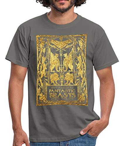 Spreadshirt Fantastic Beasts Book Cover Men's T-Shirt, 3XL, Graphite Grey