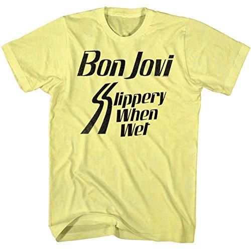 Men's Heather Yellow Bon Jovi Slipper When Wet Tee