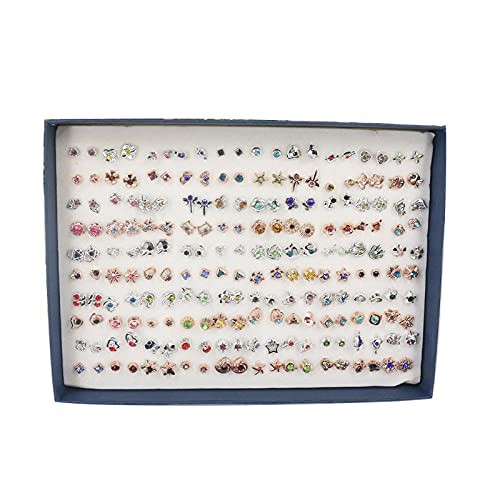 Aretes 100 pares de plástico femenino temperamento pendientes en caja pendientes pequeños oídos-veinticuatro