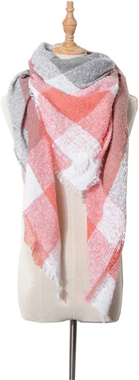 Winter Scarfs Women Blanket Scarf Plaid Tartan Scarf Ladies Shawls Wraps. (color   orange)