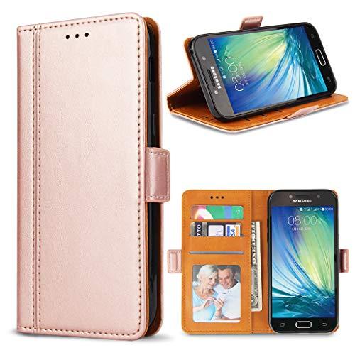 Bozon Galaxy A5 2017 Hülle, Leder Tasche Handyhülle Flip Wallet Schutzhülle für Samsung Galaxy A5 2017 mit Ständer & Kartenfächer/Magnetverschluss (Rose Gold)