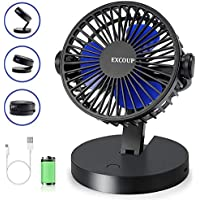EXCOUP USB Portable Desk Fan with 360 Rotation