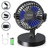 EXCOUP USB Desk Fan with 360° Rotation, Mini Table Fans Quiet Noise