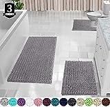 Yimobra 3 Piece Bath Mat Set, Extra Large Shaggy Chenille Bathroom...