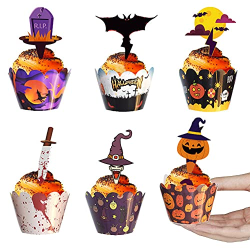 48 Pièces Halloween Cupcake Wrappers,Halloween Cupcake Toppers,Halloween Cupcakes Décoration,Halloween Wrappers,Décoration Halloween Gâteau de Fête,pour Halloween Fête Décoration Fournitures (style2)