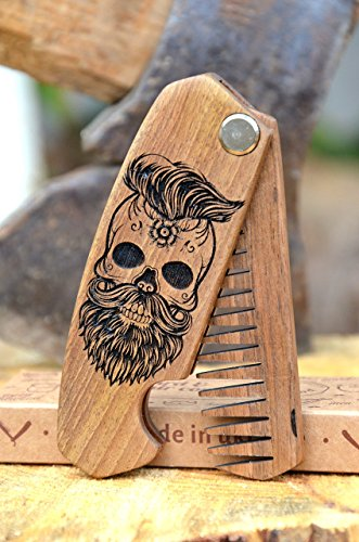 Beard Comb for Men - Pocket Folding Combs for Mustache & Hair. Travel, Natural Wooden Comb with Skull Engraving - Perfect for Use w/Beard Balm, Oil