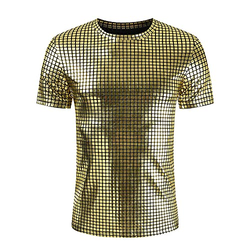 Camiseta Verano Hombre con Cuello Redondo/Cuello En V Brillante Hombre Manga Corta Club Nocturno Fiesta Hip Hop Ropa Calle Hombre Moda Estampado A Cuadros Top Hombre B-Golden1 XL