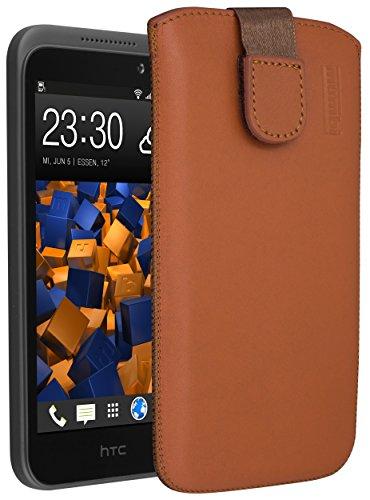 mumbi Echt Ledertasche kompatibel mit HTC Desire 320 Hülle Leder Tasche Hülle Wallet, Cognac