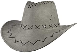 Hats Jazz Cow Knight Suede Cowboy Fedora Hat West Montana Travel Summer Hat Sun Hat (56-58cm) Fashion (Color : Silver, Size : 56-58CM)