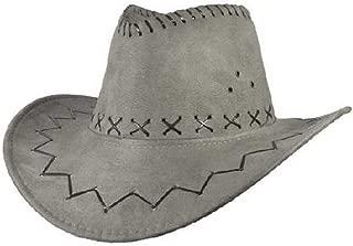Hats Jazz Cow Knight Suede Cowboy Fedora Hat West Montana Travel Summer Hat Sun Hat (56-58cm) Fashion (Color : Silver, Size : 56-58CM)