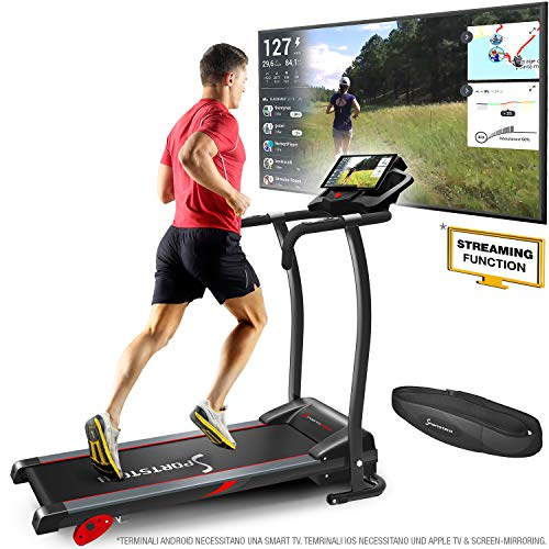 Sportstech F15 Tapis Roulant- Marchio di qualità Tedesco - Video Live e Multiplayer App LCD Display, incl.Bluetooth, 3 PS, 12 KM/H, 17 programmi e Supporto per Tablet - Compatto e Pieghevole
