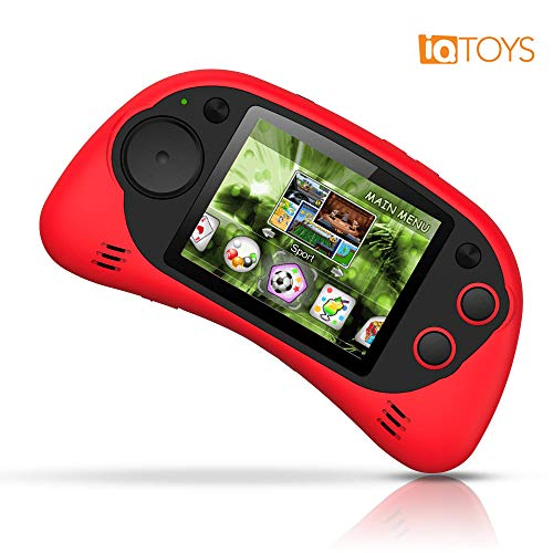 IQ Toys Handheld Arcade Game Zone Player Console Classic 200 Preloaded Video Games for Kids, 16 BIT Large 2.7' Screen, Rechargable, Red